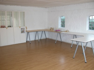 Stage one of my new studio, I am so looking forward to quilting with this much space, just got to get unpacked.