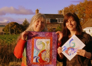 patchwork ceilidh photo. Lizzie McDougall and Chrissie Stewart with Brenda 's Patchworkjpg